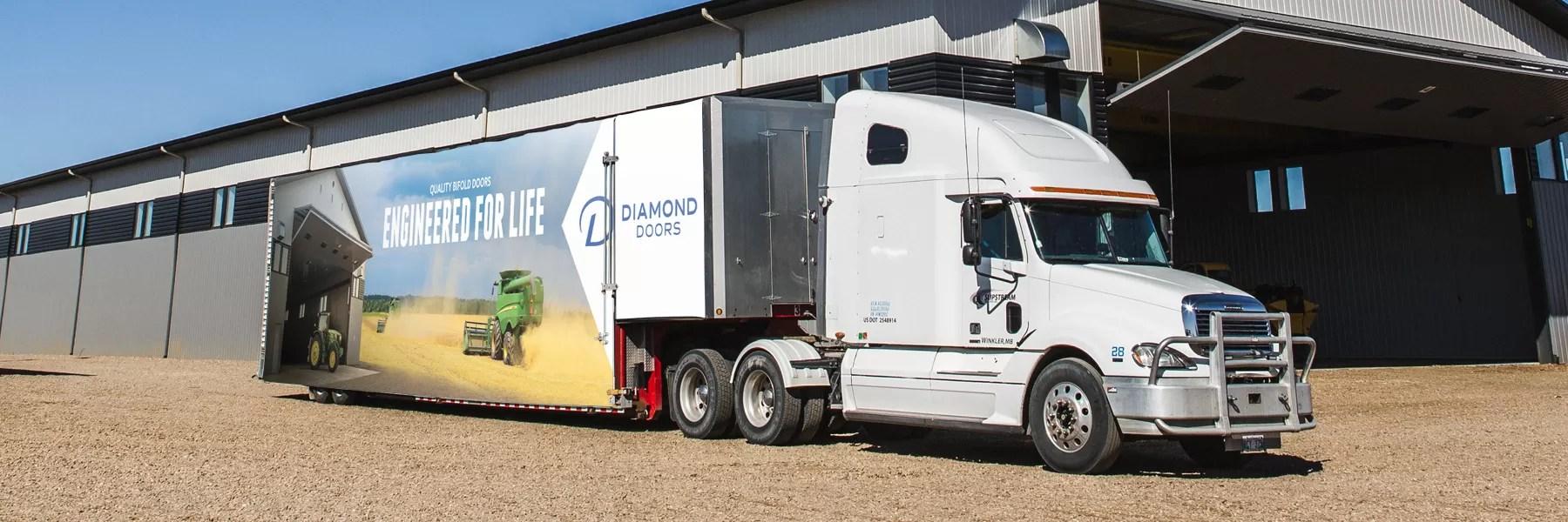 image of diamond doors truck decal