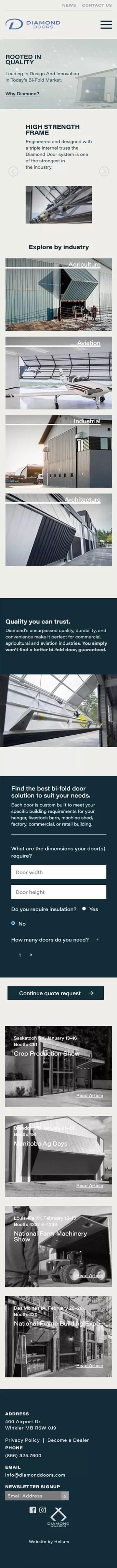 diamond doors website's home page screenshot on mobile device