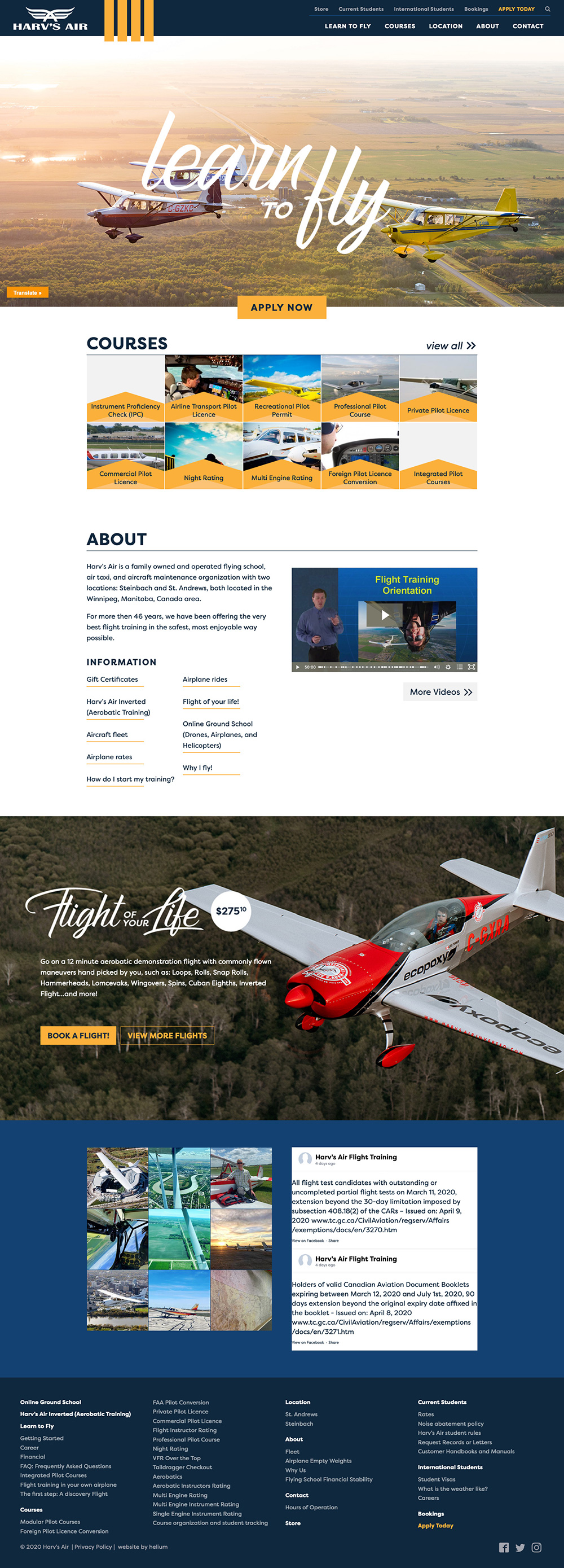 Screenshot of Harv's Air website's home page