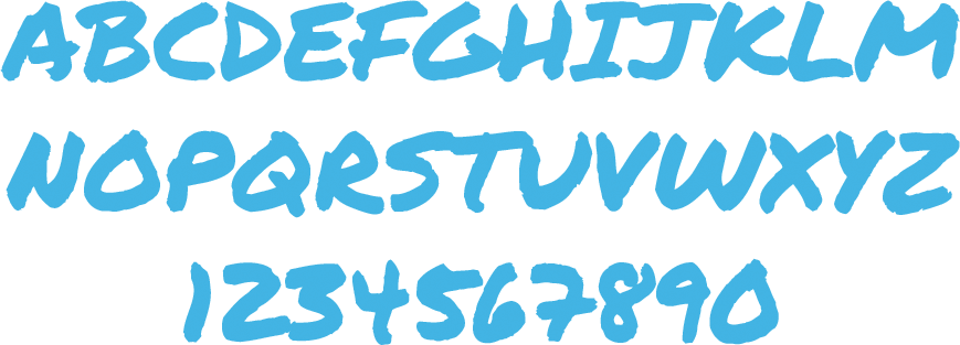 permanent marker font showing all letters and numbers