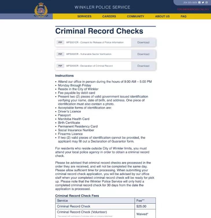 Criminal Record Checks Winkler Police Service