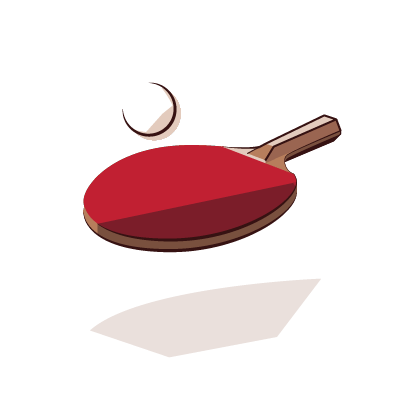 ping pong paddle and ball illustration