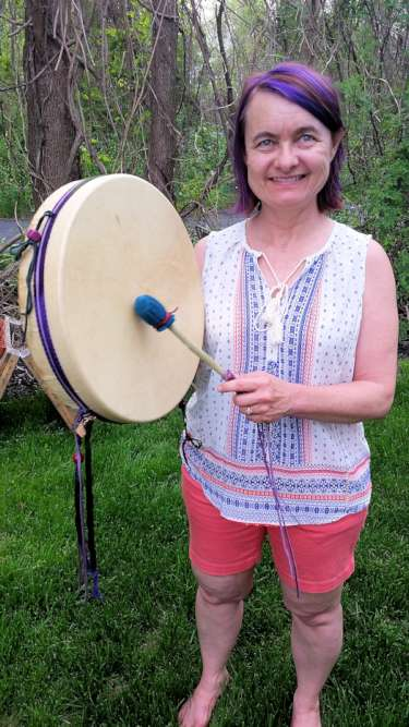 karen with her new thunder drum from thunder valley drums