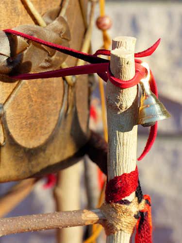 powwow drum stand with brass bells