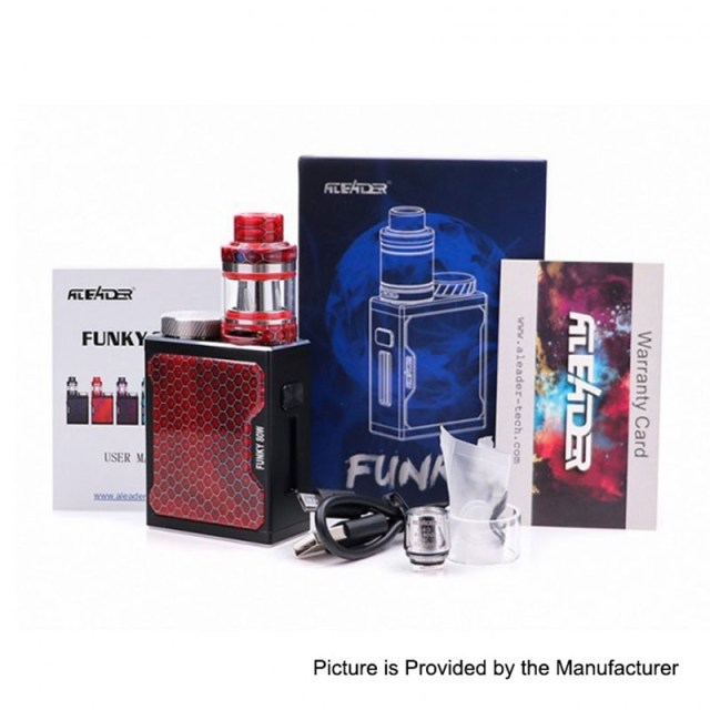 authentic aleader funky 80w tc vw variable wattage box mod sub ohm tank kit black 180w 1 x 18650 2ml 2