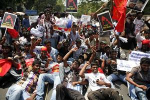 tAMIL PROTESTS IN T-NADU--AP