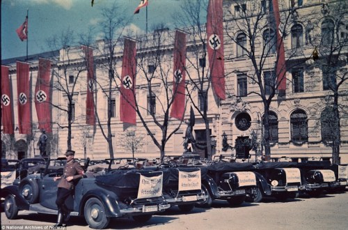 nazi cars and flags