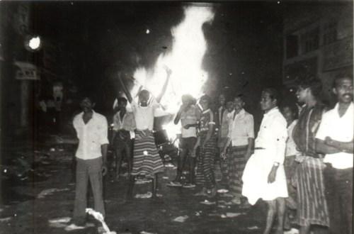 14a -- Borella rioters 1983- burning