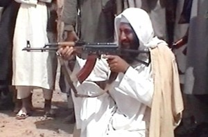 Osama bin Ladin with Kalishnicov gun
