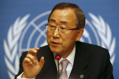U.N. Secretary-General Ban Ki-moon gestures during a press conference at the United Nations headquarters in Geneva, Switzerland Friday, Dec. 12, 2008. Ban says the latest