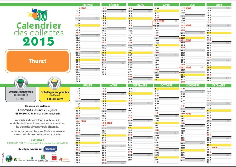 Calendrier collectes SBA 2015 Thuret