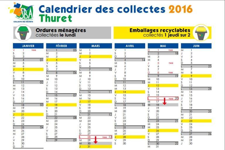 2016 calendrier collectes 1er semestre