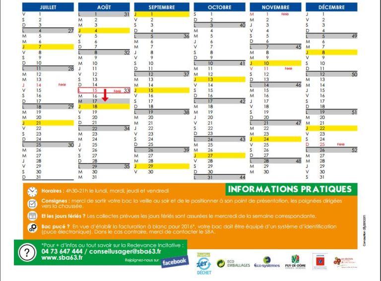 2016 calendrier collectes 2eme semestre