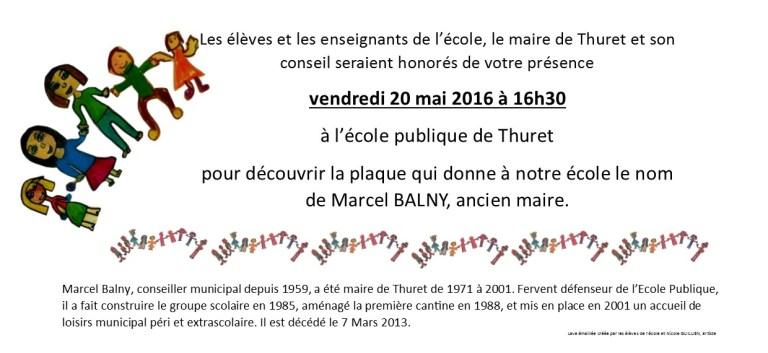Invitation Inauguration Du Nom De L Ecole Marcel Balny Vendredi 20