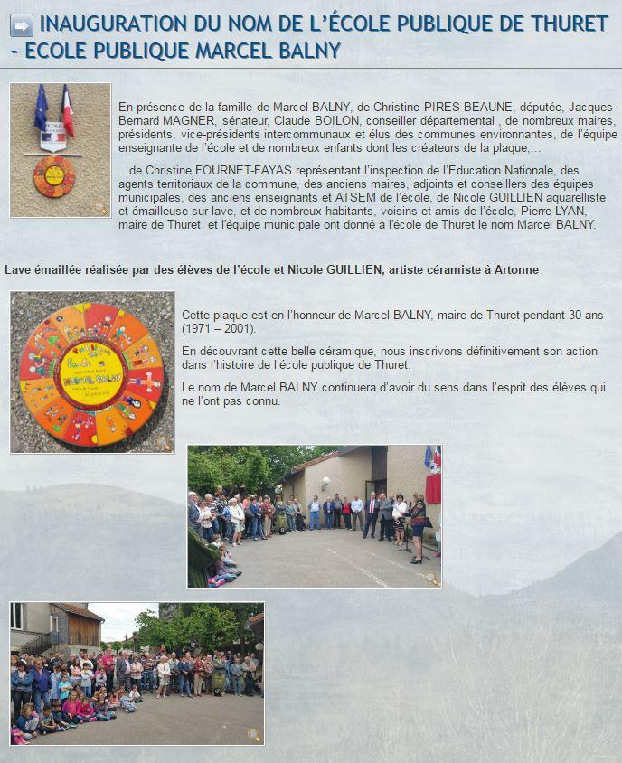 JB MAGNER inauguration plaque BALNY
