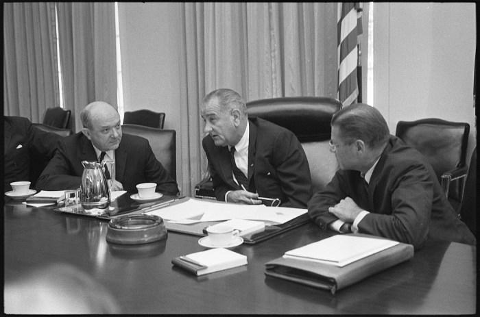 Lyndon Johnson, Robert McNamara, Dean Rusk in July 1965