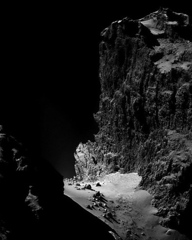 Cliffs of Comet Churyumov–Gerasimenko. For perspective, some of the boulders in the photo are 20 meters wide. - More info at http://apod.nasa.gov/apod/ap141223.html
