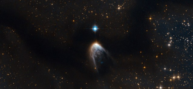 The new star is blowing away the excess material that it was born from. More info at this NASA page http://www.nasa.gov/content/goddard/violent-birth-announcement-from-an-infant-star/index.html#.U4k7Nvl3Jp_