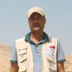 Ahmed Bogdadi, inspector de almacenes en el yacimiento del templo de Tutmosis III