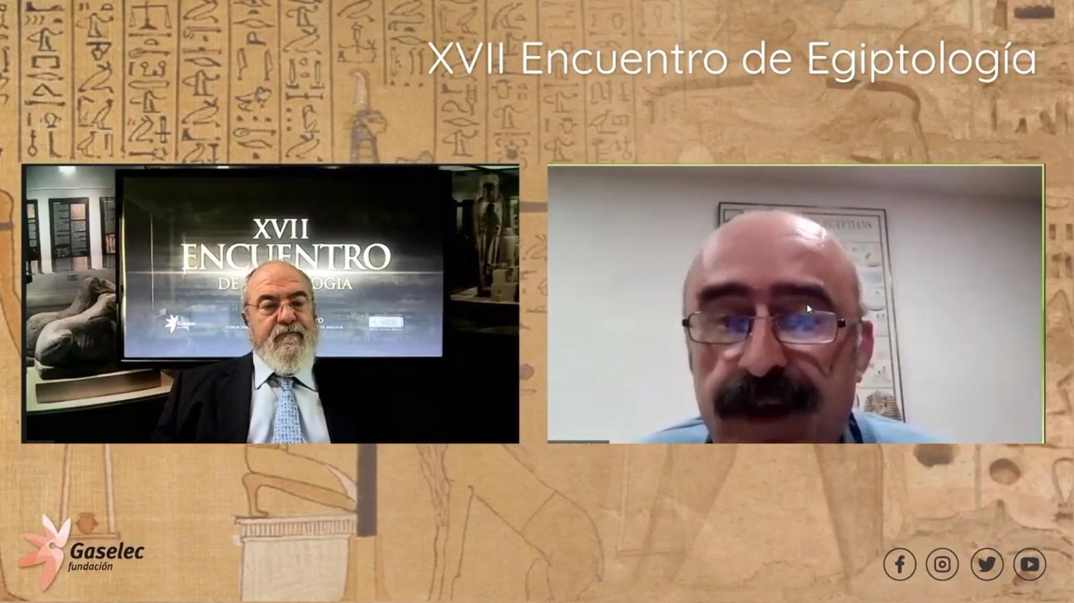 Gustavo Cabanillas y Javier Martínez Babón durante el XVII Encuentro de Egiptología de Fundación Gaselec