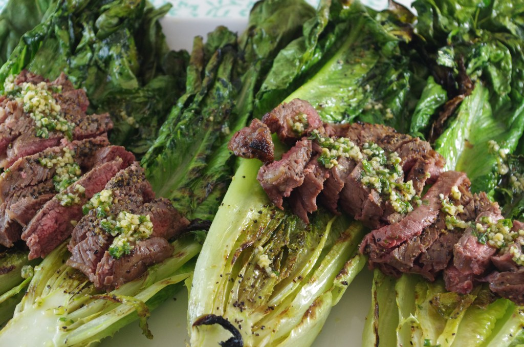 grilled romaine steak salad