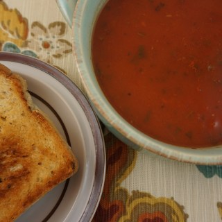 Roasted Tomato Basil Soup with Grilled Cheese