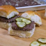 Oven Baked Copycat White Castle Burgers on white roll with pickles