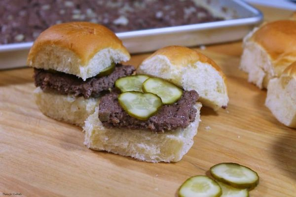 Oven BakedCopycat White Castle Burgers on white roll with pickles