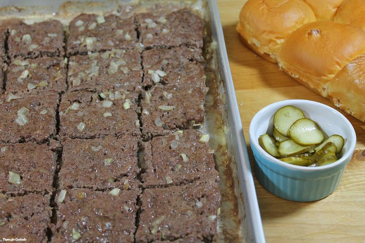 cooked burgers on tray - Oven BakedCopycat White Castle Burgers