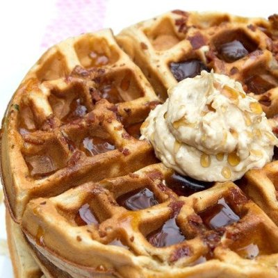 Peanut Butter Banana Bacon Waffles