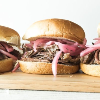 Pot Roast Sliders with Pickled Onions