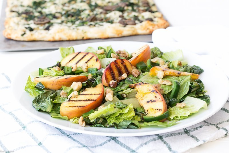 Grilled Peach Poblano Romaine Salad
