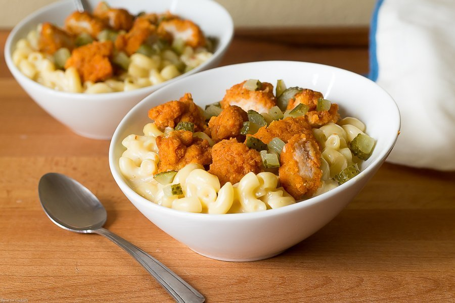 This Nashville Hot Chicken Mac and Cheese is so spicy + creamy it takes me back to this summer when we spent the weekend eating our way through Tennessee.