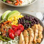 15-Minute Chicken Fajita Cauliflower Rice Bowls