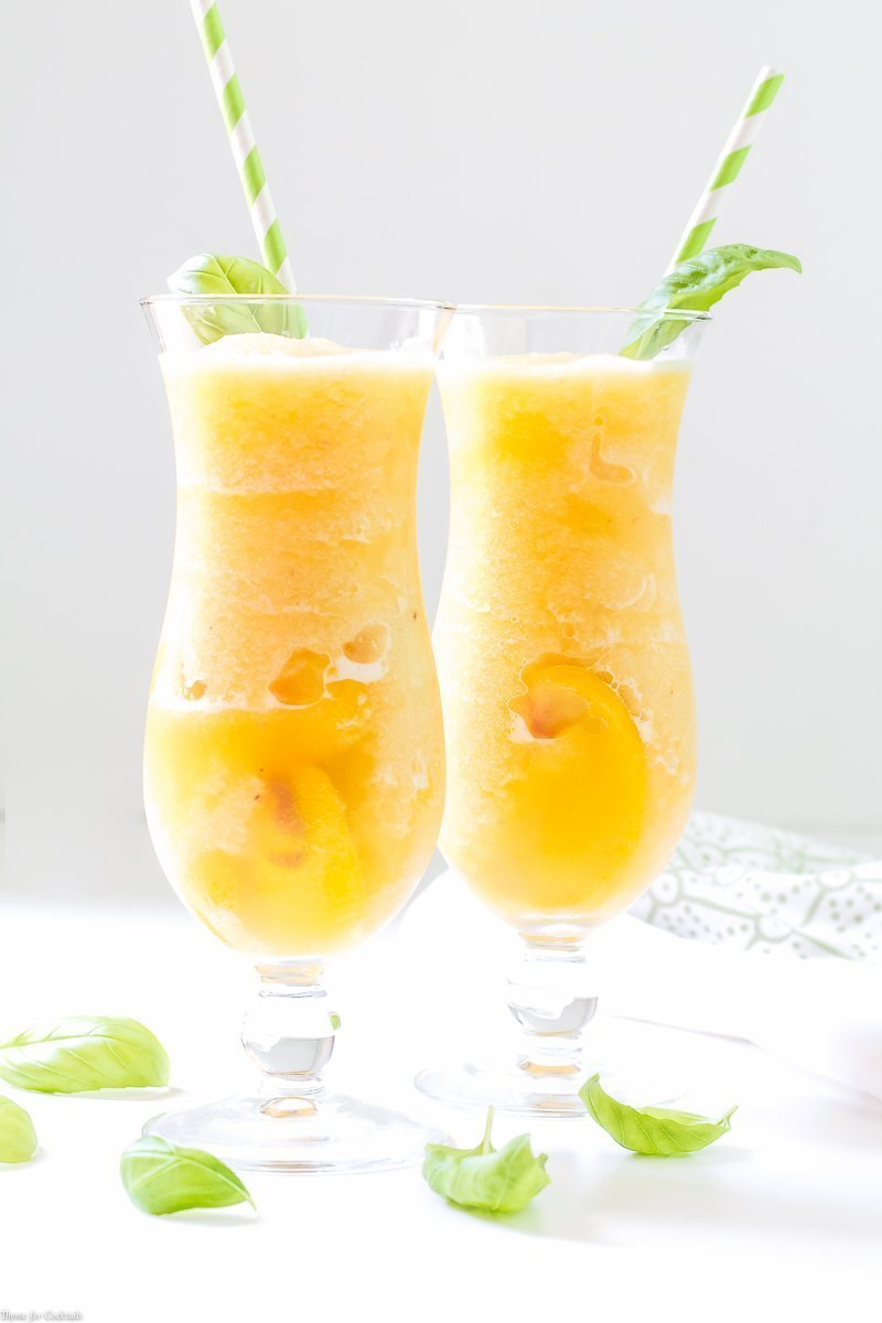 Frozen Peach Basil Daiquiri drink recipe