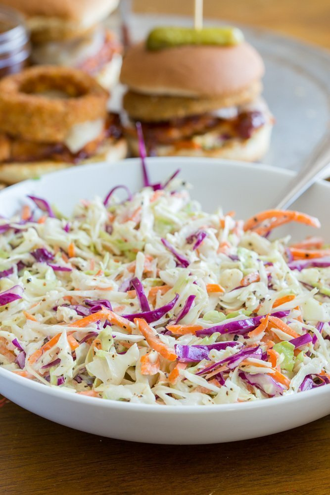 Crunchy-Coleslaw-for-Bourbon Barbecue Grilled Chicken Sandwiches
