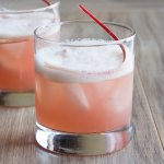 Honey Rhubarb Whiskey Sour made with a Honey Rhubarb simple syrup
