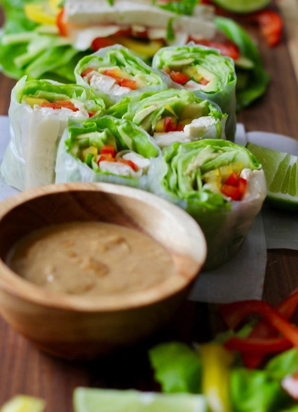 Raw Veggie Spring Rolls with Peanut Sauce