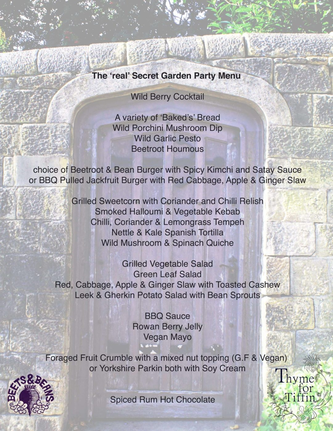 thyme for tiffin catering menu