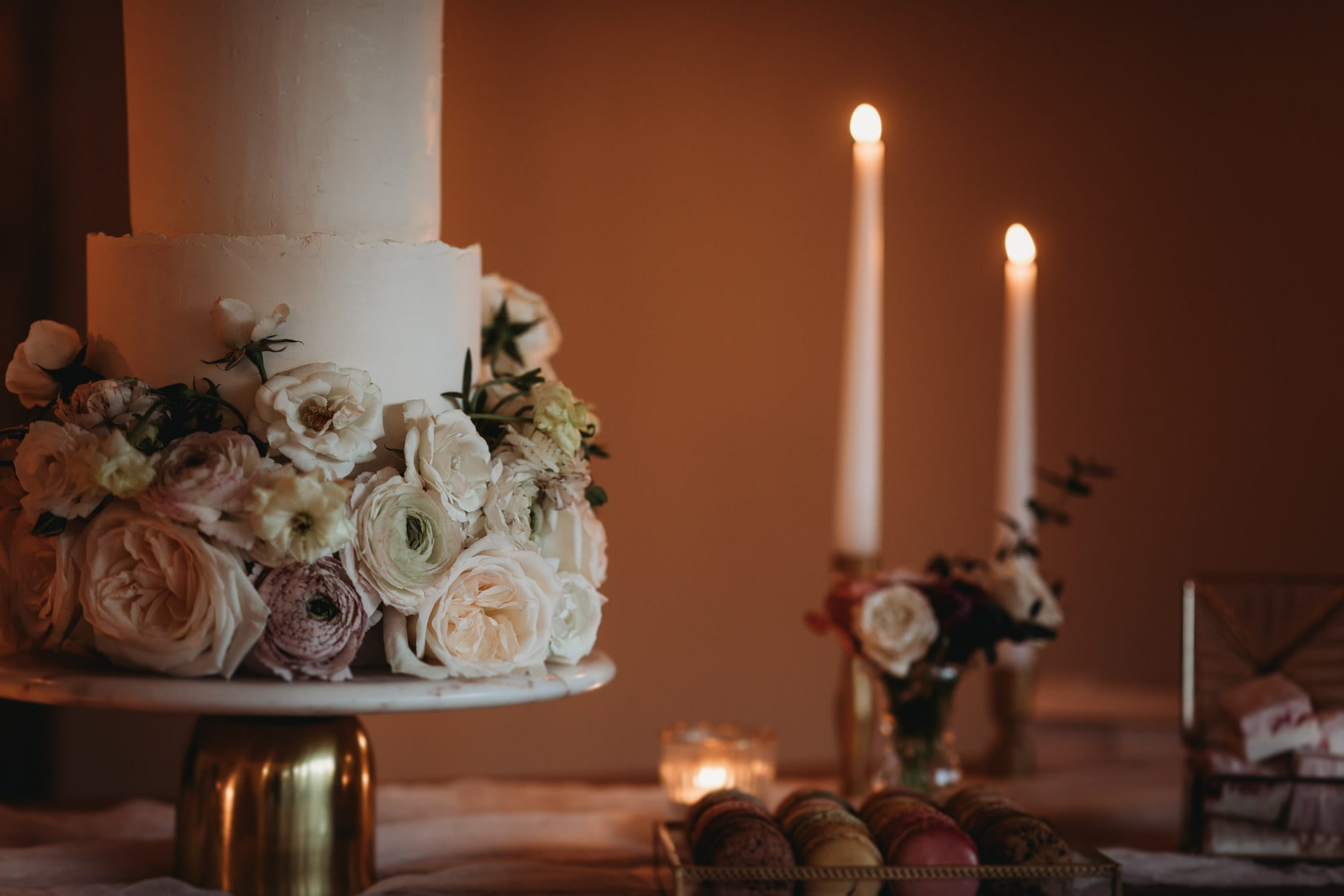 closeup of cake with flowers at Granary Estates Intimate wedding