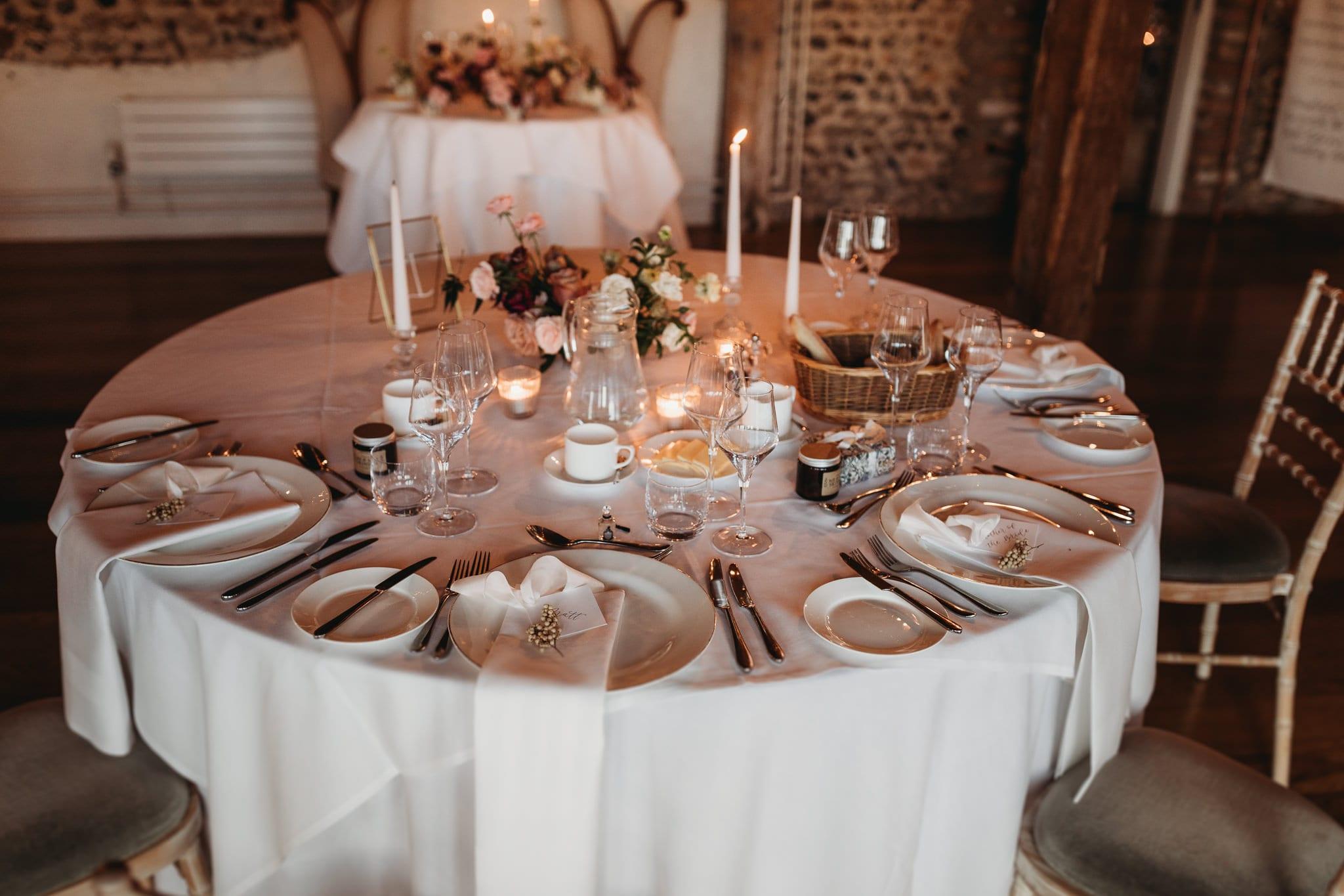 table setup at Granary Estates Intimate wedding