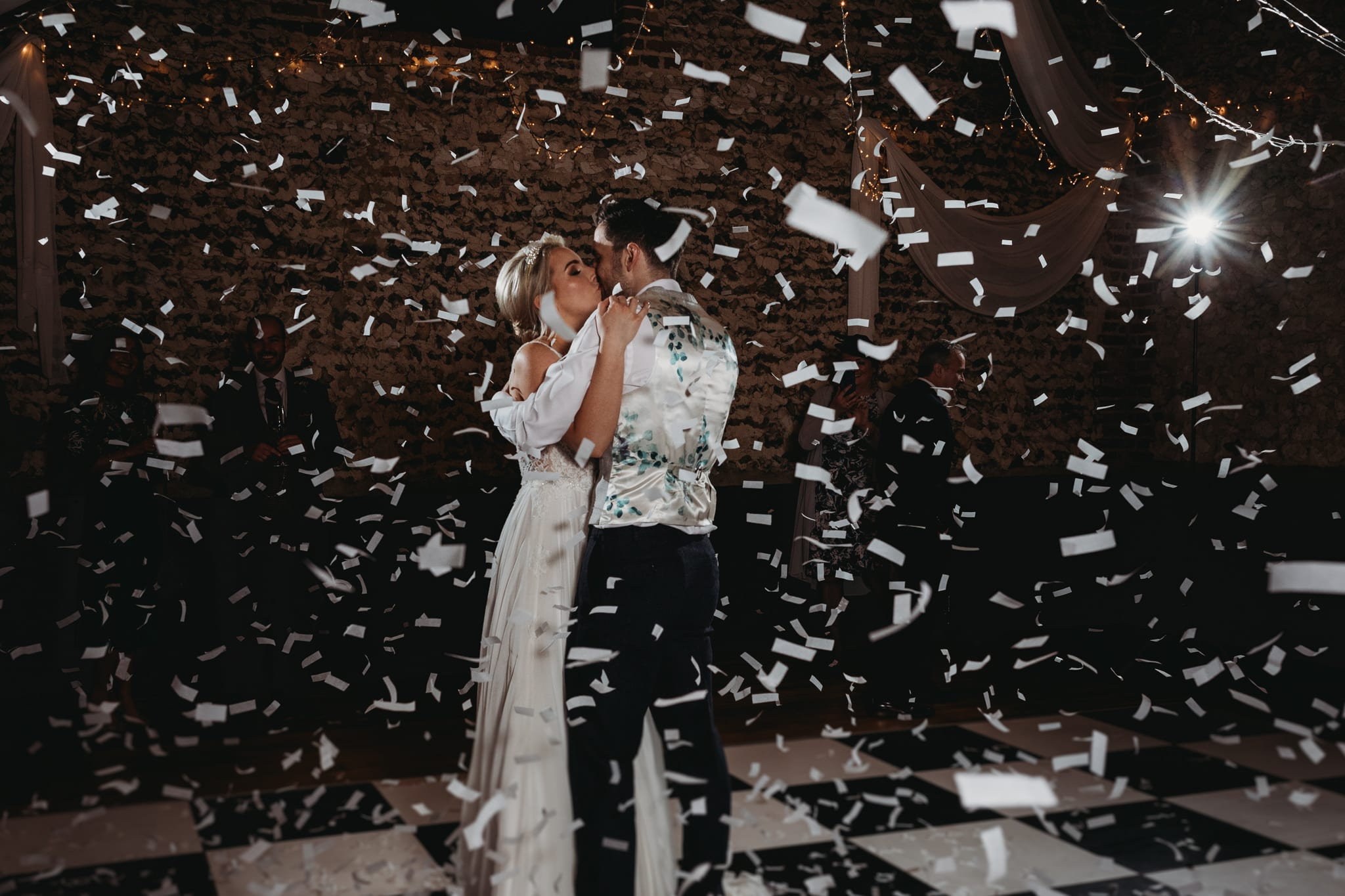 bride and groom at their first dance with confetti at Granary Estates Intimate wedding