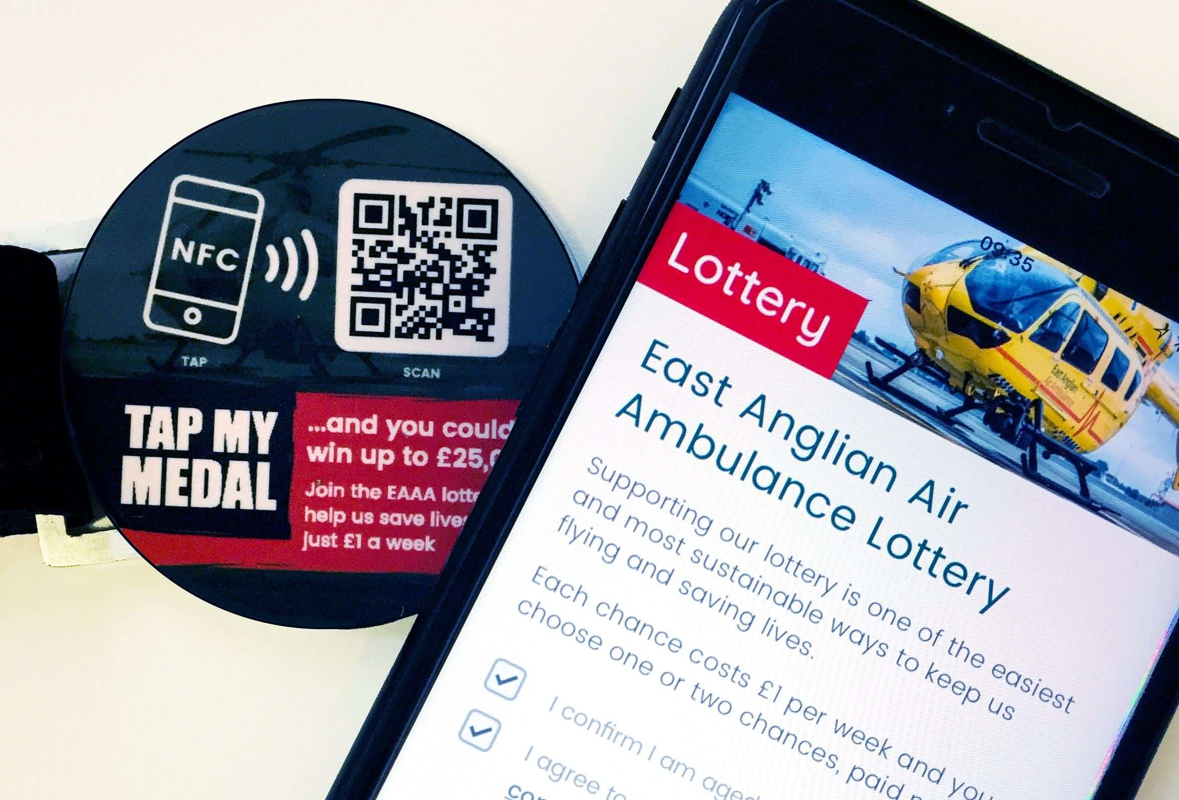East Anglian Air Ambulance 'Taps' Thyngs for Mobile Lottery Subscriptions
