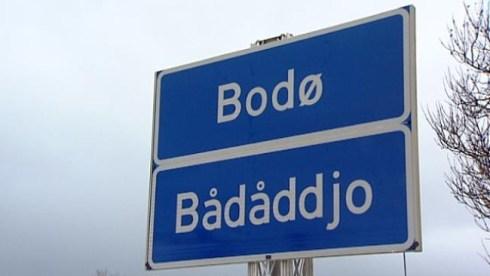 Street sign in Sami