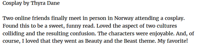 Review for the story Cosplay in the anthology LOVE IN BLOOM