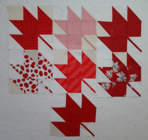 Maple leaf quilt - in progress, by Michelle, on Flickr January 15, 2015