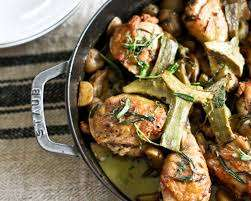 Chicken Artichokes Potatoes and Brown Sauce