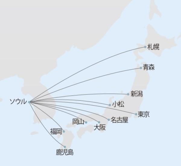 大韓航空路線図2
