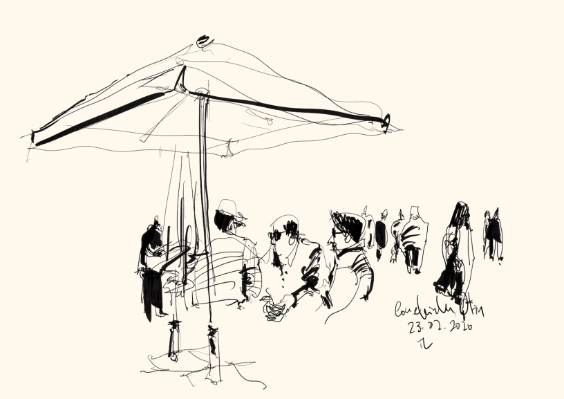 drawing of people in Ofir, Portugal