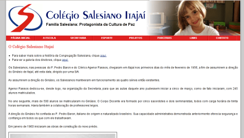 Site do Colégio Salesiano Itajaí